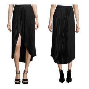 RAMY BROOK Blair pleated asymmetrical skirt Black